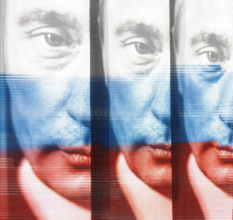 Vladimir Putin Russian President poster with flag overlay. Portrait of Vladimir Putin Russian President with national flag overlay