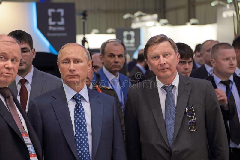Vladimir Putin and Sergei Ivanov. ZHUKOVSKY, MOSCOW REGION, RUSSIA - AUG 25, 2015: The President of the Russian Federation Vladimir Putin and Chief of Staff royalty free stock photos