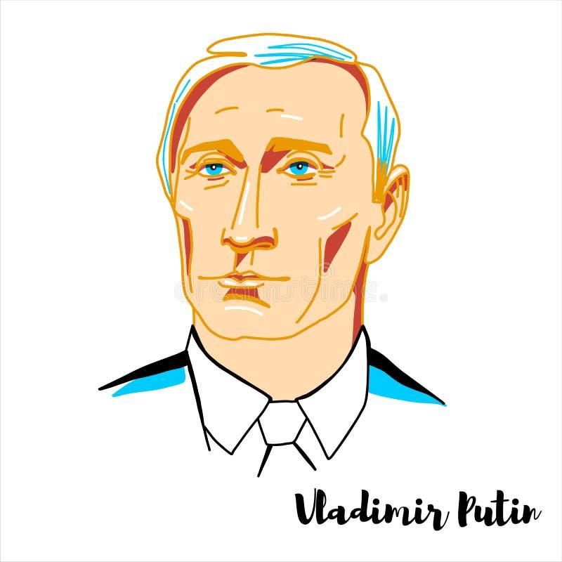 Vladimir Putin st?ende royaltyfri illustrationer