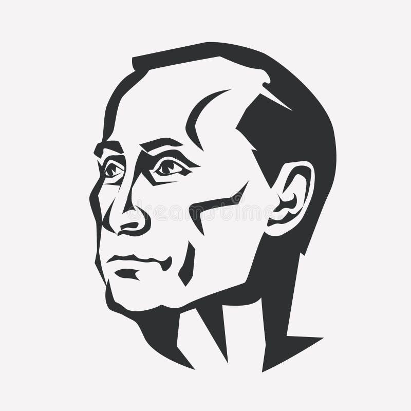 Vladimir Putin stylizowany wektorowy portret ilustracji