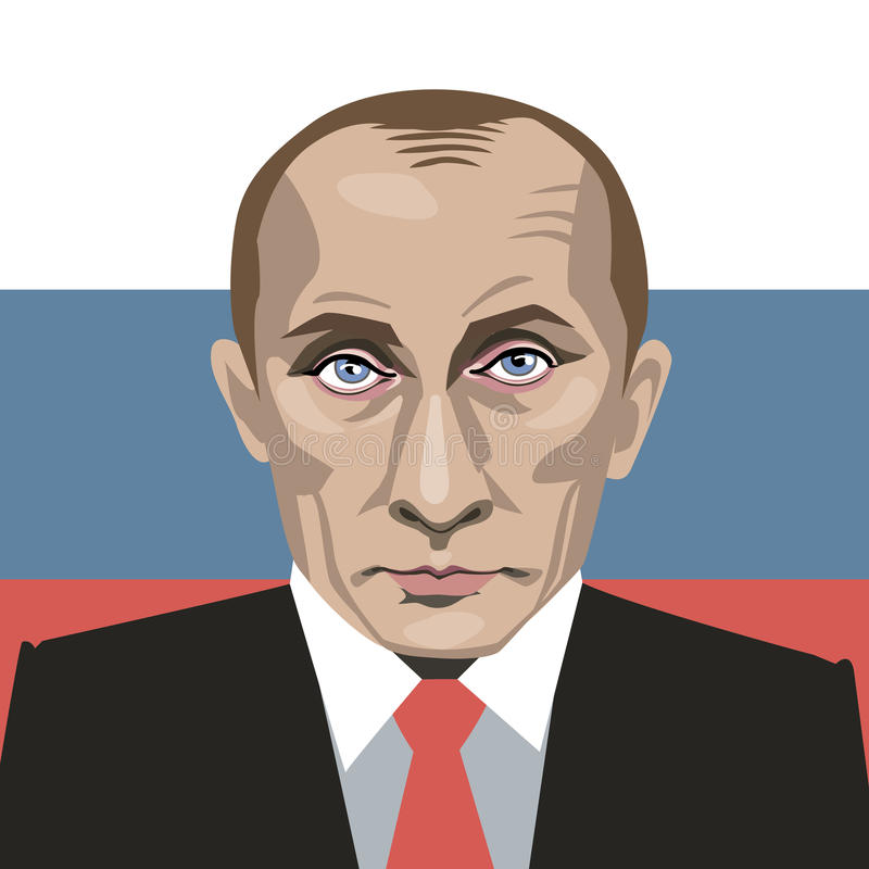 Vladimir Putin. A vector illustration of a portrait of President Vladimir Putin on on the background of the Russian flag. Date: 19.09.2015