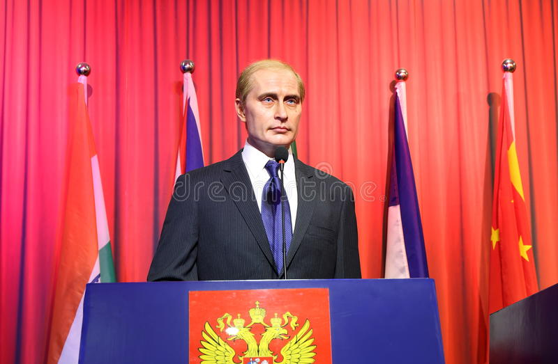 Putin. Wax statue of famous politician Vladimir Putin. Wax figure in Waxworks Museum royalty free stock images