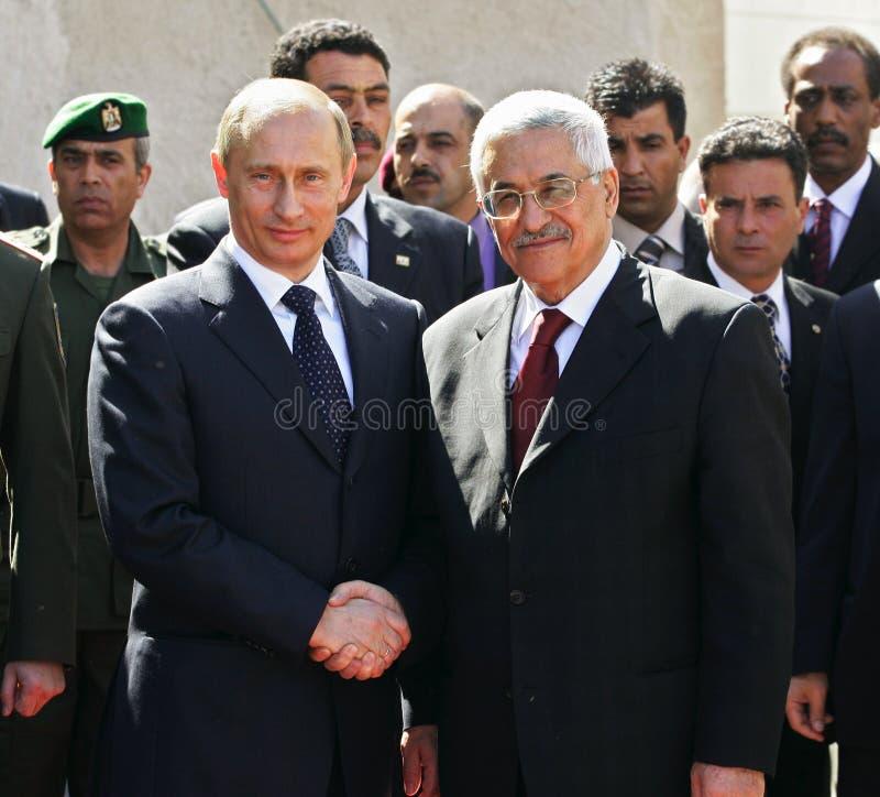 Vladimir Putin y Mahmoud Abbas fotografía de archivo