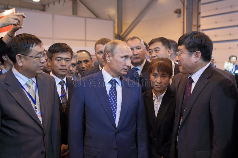 Vladimir Putin. ZHUKOVSKY, MOSCOW REGION, RUSSIA - AUG 25, 2015: The President of the Russian Federation Vladimir Vladimirovich Putin with Chinese delegation at royalty free stock photography
