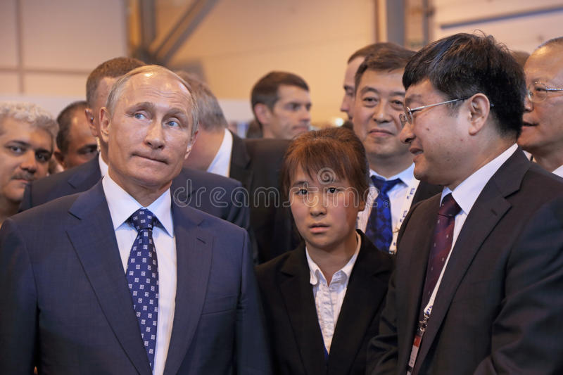 Vladimir Putin. ZHUKOVSKY, MOSCOW REGION, RUSSIA - AUG 25, 2015: The President of the Russian Federation Vladimir Vladimirovich Putin with Chinese delegation at royalty free stock photos