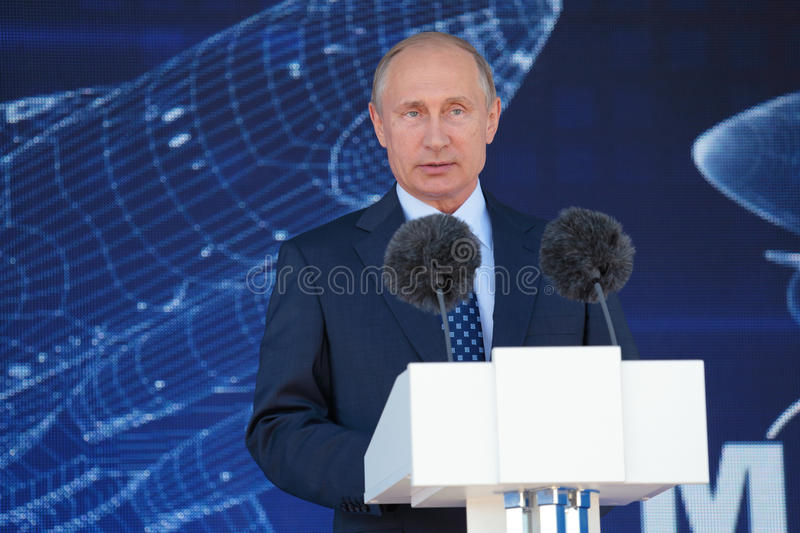 Vladimir Putin. ZHUKOVSKY, MOSCOW REGION, RUSSIA - AUG 25, 2015: The President of the Russian Federation Vladimir Vladimirovich Putin at the opening ceremony of stock photography