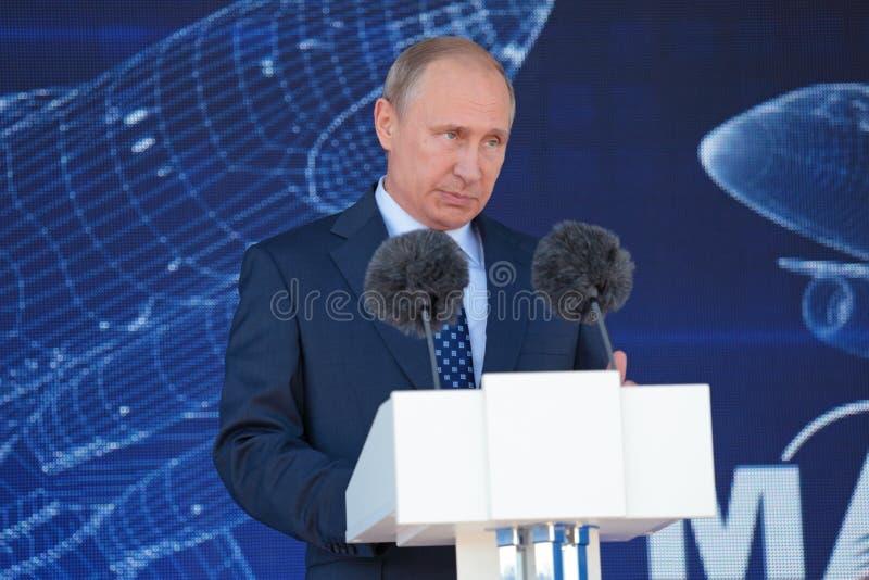 Vladimir Putin. ZHUKOVSKY, MOSCOW REGION, RUSSIA - AUG 25, 2015: The President of the Russian Federation Vladimir Vladimirovich Putin at the opening ceremony of royalty free stock photography