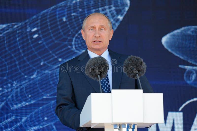 Vladimir Putin. ZHUKOVSKY, MOSCOW REGION, RUSSIA - AUG 25, 2015: The President of the Russian Federation Vladimir Vladimirovich Putin at the opening ceremony of royalty free stock photos