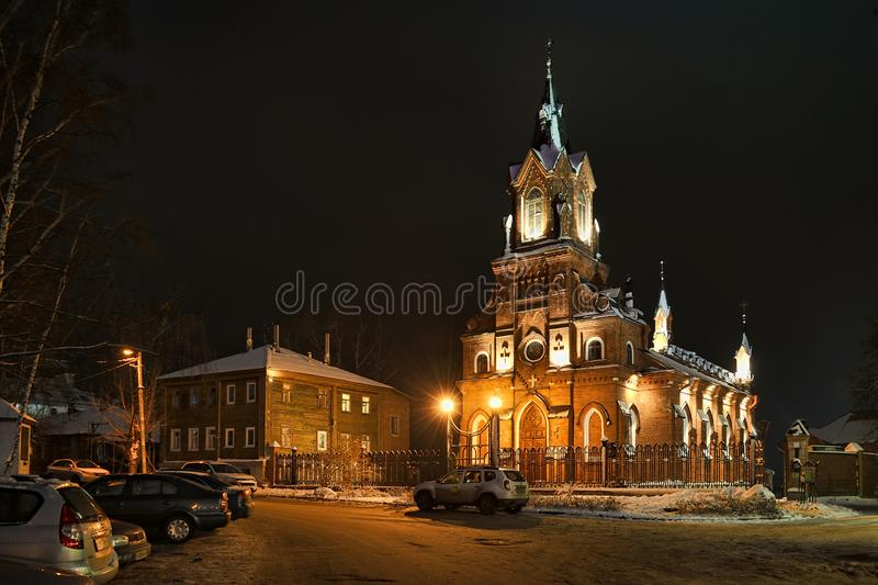 At the Catholic Church of the Blessed Virgin Mary at Winter Nigh. VLADIMIR, RUSSIA - At the Catholic Church of the Blessed Virgin Mary at Winter Night. The Roman stock photo