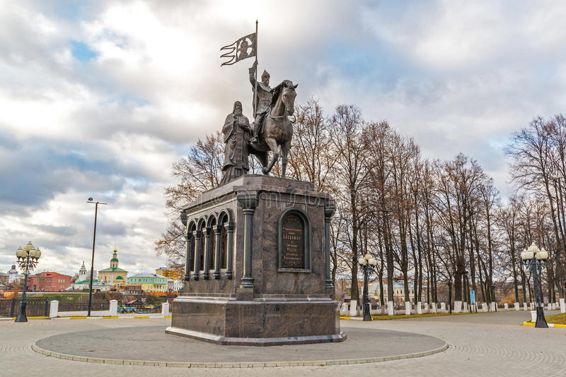 Vladimir, Russia - November 05.2015. The monument to St. Prince Vladimir and Fedor. Vladimir, Russia - November 05.2015. The monument to a St. Prince Vladimir stock photography