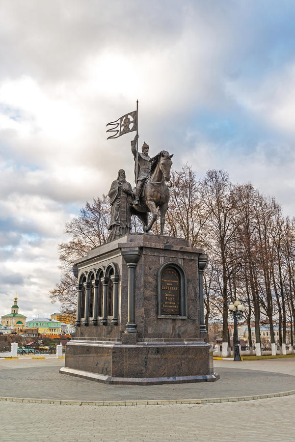 Vladimir, Russia - November 05.2015. The monument to St. Prince Vladimir and Fedor. Vladimir, Russia - November 05.2015. The monument to a St. Prince Vladimir stock photo