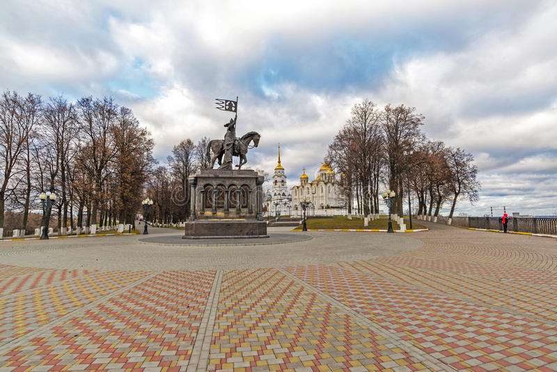 Vladimir, Russia - November 05.2015. The monument to St. Prince Vladimir and Fedor against the background of Assumption Cathedral. Vladimir, Russia - November 05 stock photos