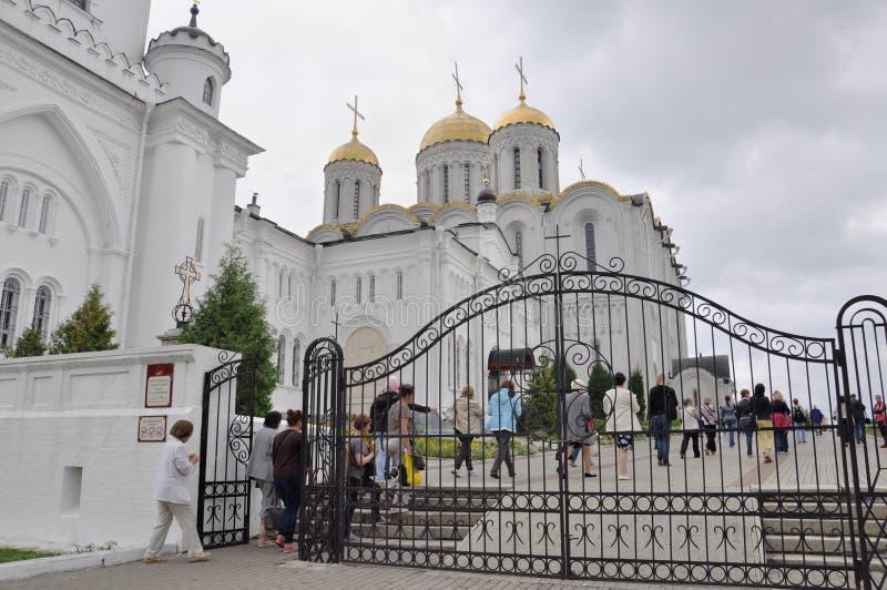 VLADIMIR, RUSSLAND, am 29. August 2015: Das historische Monument Vladimir Assumption Cathedrals durch UNESCO als Teil des Goldene stockbild