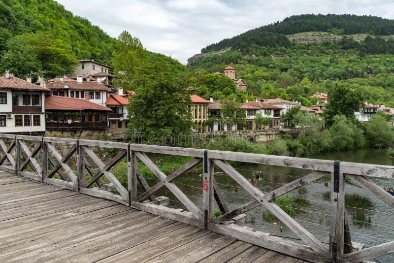 Vladishki Bridge or Bishop`s Bridge, medieval bridge through the River Yantra. Veliko Tarnovo stock photos