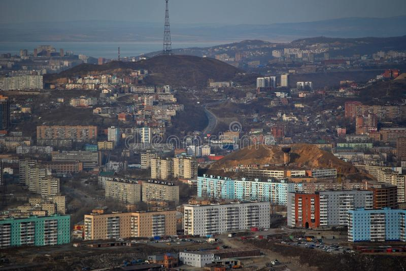 Vladivostok. Is a city located in the South-East of the Russian Federation, has a hilly terrain royalty free stock image