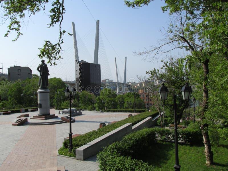 vladivostok Das Quadrat eines Namens von N n Muravyov-Amurskiy lizenzfreie stockfotos