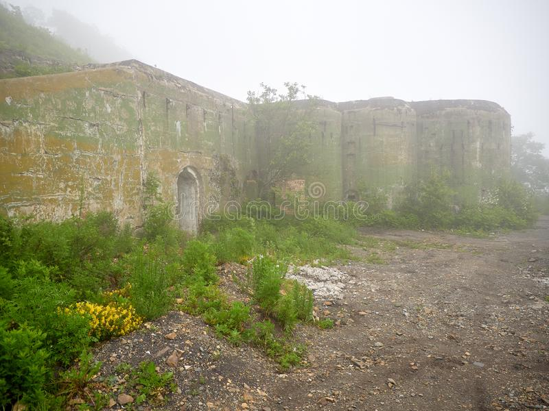 Fort of Vladivostok fortress. Vladivostok fortress Fort overgrown with greenery stock images