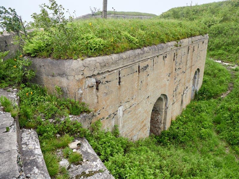 Fort4 of Vladivostok fortress. Vladivostok fortress Fort overgrown with greenery stock image