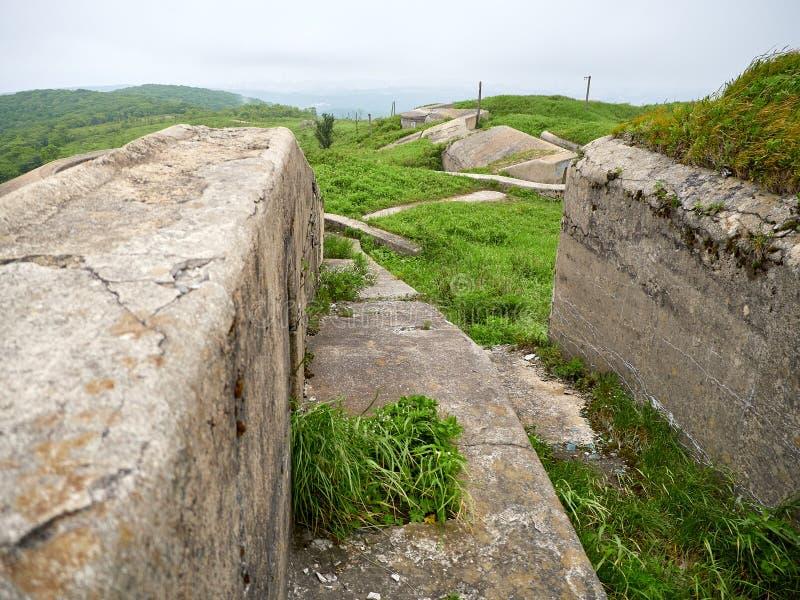 Fort of Vladivostok fortress. Vladivostok fortress Fort overgrown with greenery stock photos