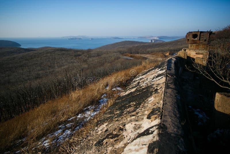Vladivostok fortress. Ground structures of the Vladivostok fortress on the Russian Island in the city of Vladivostok stock image