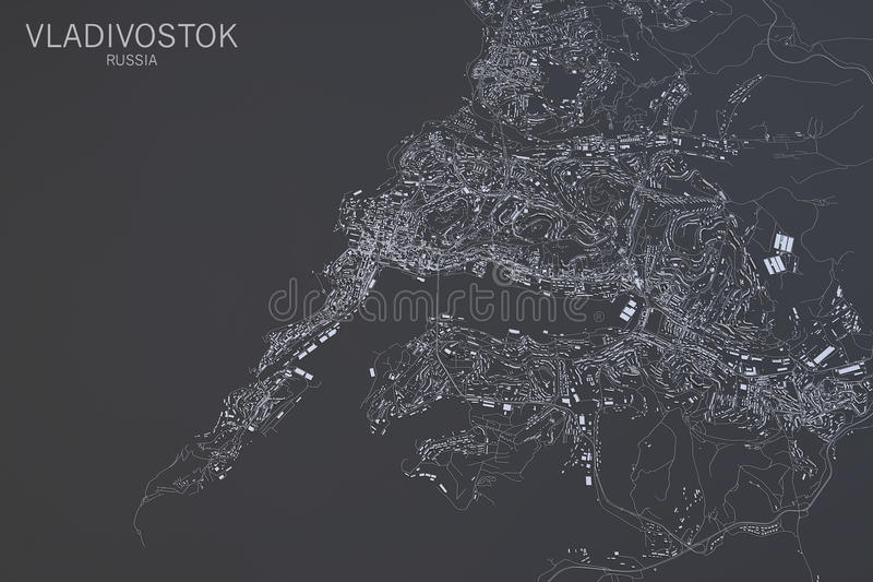 Vladivostok Map Satellite View Russia Stock Illustration Image