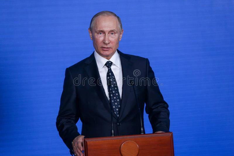 Speech by the President of the Russian Federation Vladimir Putin in the Primorsky Oceanarium. As part of the Eastern Economic Forum in 2017 on the Russian royalty free stock photography