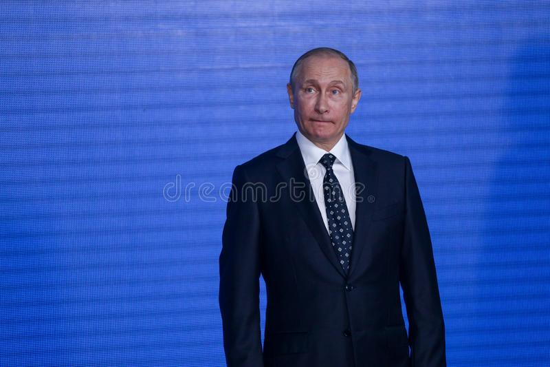 Speech by the President of the Russian Federation Vladimir Putin in the Primorsky Oceanarium. As part of the Eastern Economic Forum in 2017 on the Russian stock image