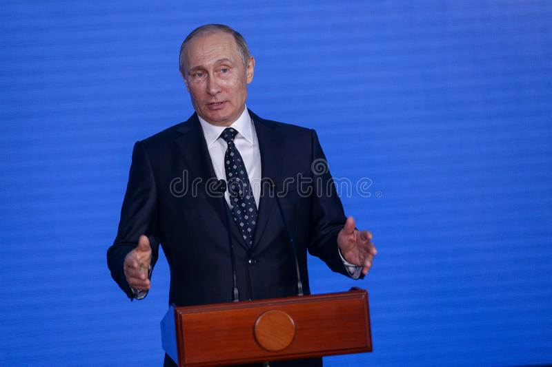 Speech by the President of the Russian Federation Vladimir Putin in the Primorsky Oceanarium stock images
