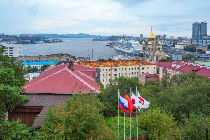 Passenger liner Costa Serena during the Eastern economic forum in Vladivostok stock images