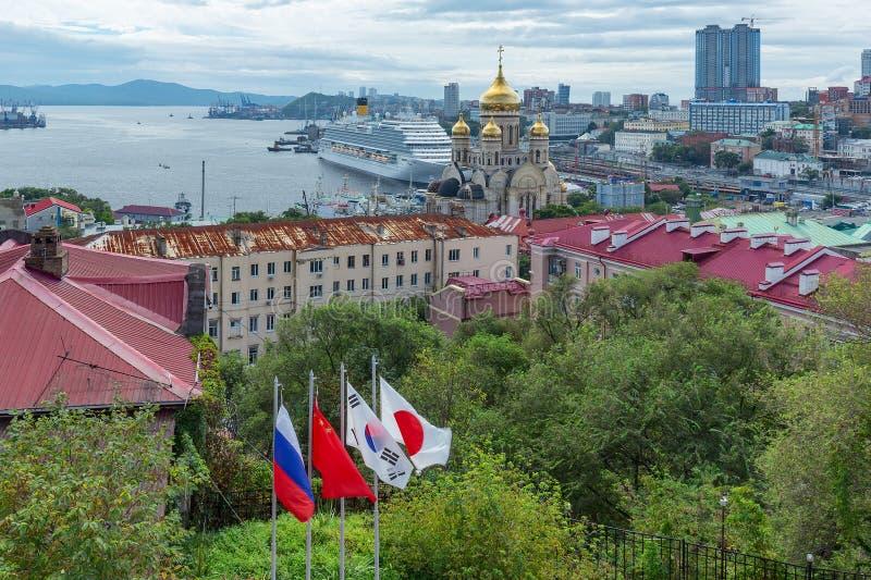 Passenger liner Costa Serena during the Eastern economic forum in Vladivostok stock photography