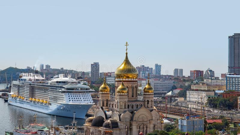 Cruise ship `Spectrum of the Seas` for the first time moored in the Russian port of Vladivostok royalty free stock photography
