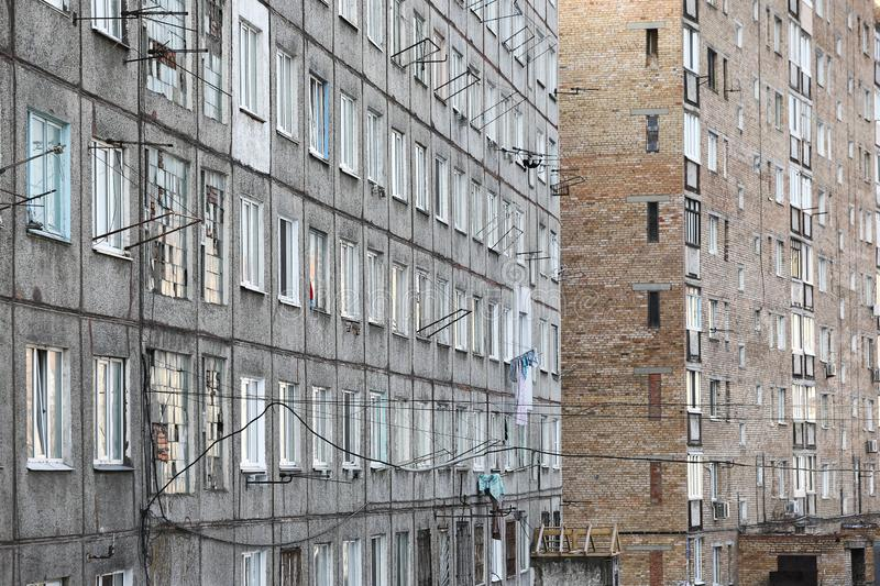 Esidential development of Vladivostok panel and brick houses. Streets of sleeping areas of the capital of the Far East stock image