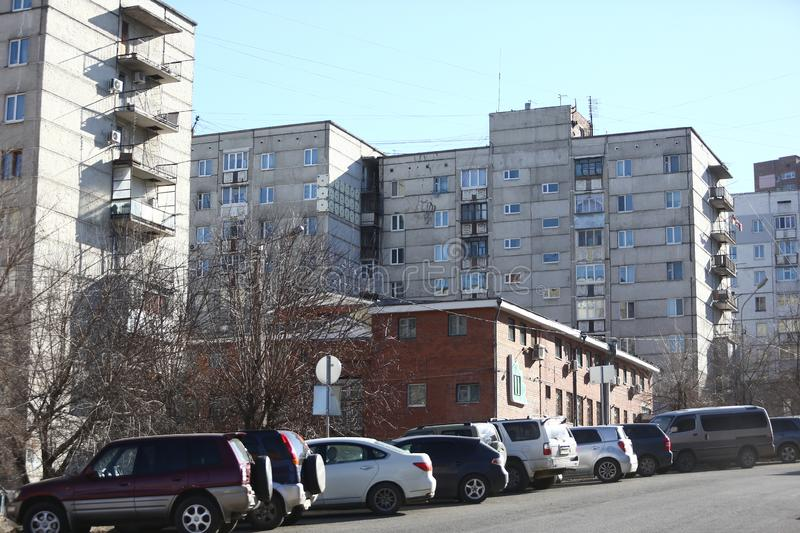 Esidential development of Vladivostok panel and brick houses. Streets of sleeping areas of the capital of the Far East stock photo