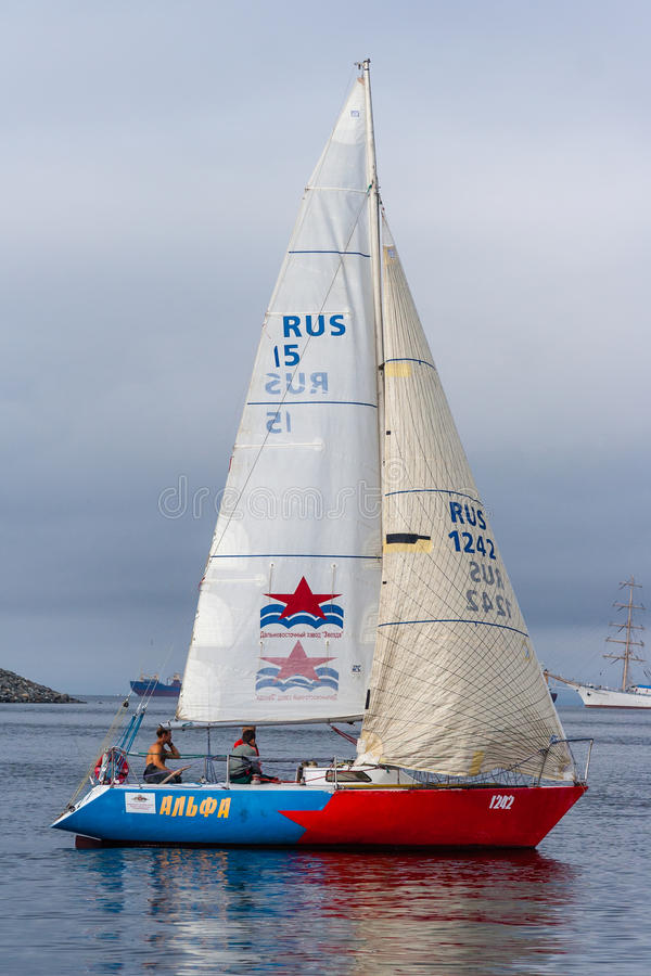 Vladivostok, Russia - circa August 2012: Regatta for Peter the Great Gulf Cup - sailed boat race in Vladivostok, Russia royalty free stock photo