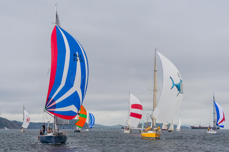 Vladivostok, Russia - circa August 2012: Regatta for Peter the Great Gulf Cup - sailed boat race in Vladivostok, Russia stock images