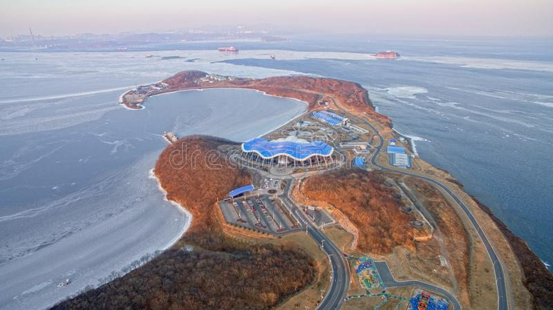Air review of the Primorsky aquarium on the Russian island. Vladivostok, Russia-February 9, 2019: Air review of the Primorsky aquarium on the Russian island stock photo