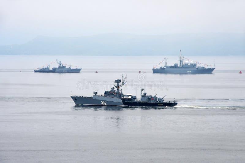 Vladivostok, Russia, 29 luglio 2018 IPC-17 `Ust-Ilimsk` piccolo progetto di nave antisommergibile 1124M Numero della scheda 362 immagini stock