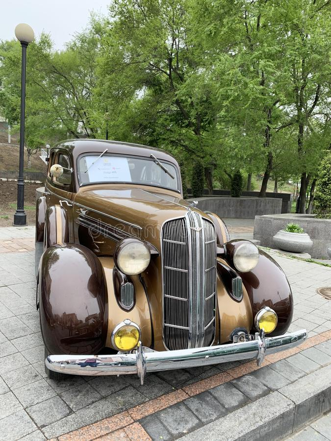 Vladivostok, Russia, May, 18, 2019. Exhibition of American retro-cars. Dodge SIX of 1936 year of manufacture. Vladivostok, Admiral stock photography
