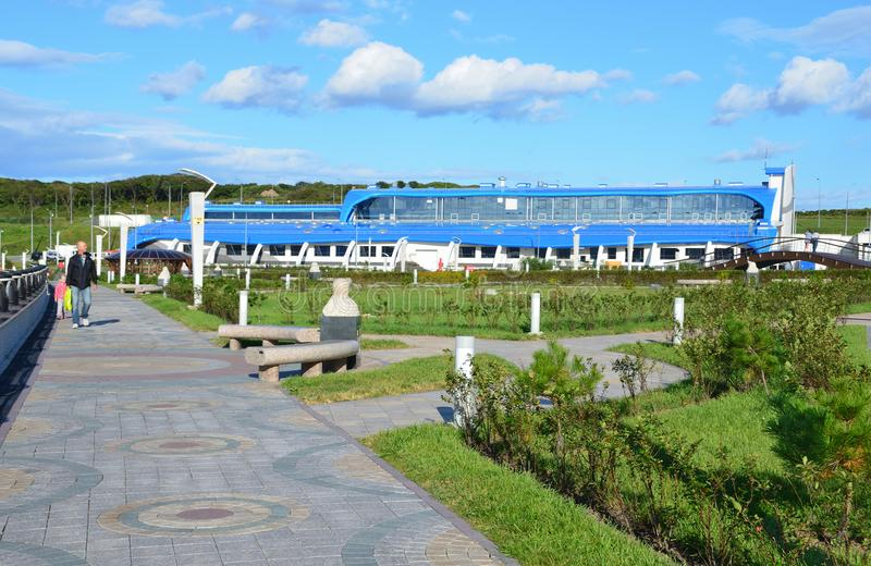Vladivostok, Russia, September, 14, 2017.Park area next to the scientific and adaptive building of Oceanarium on the island Russ. Vladivostok, Russia, September royalty free stock images