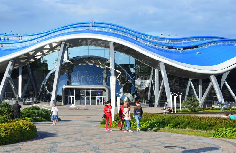 Vladivostok, Russia, September, 14, 2017. People walking near the Oceanarium on the island Russian Russky in Vladivostok. Vladivostok, Russia, people walking stock photography