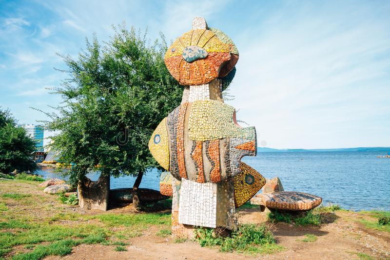 Seaside park Fish sculpture in Vladivostok, Russia royalty free stock photography