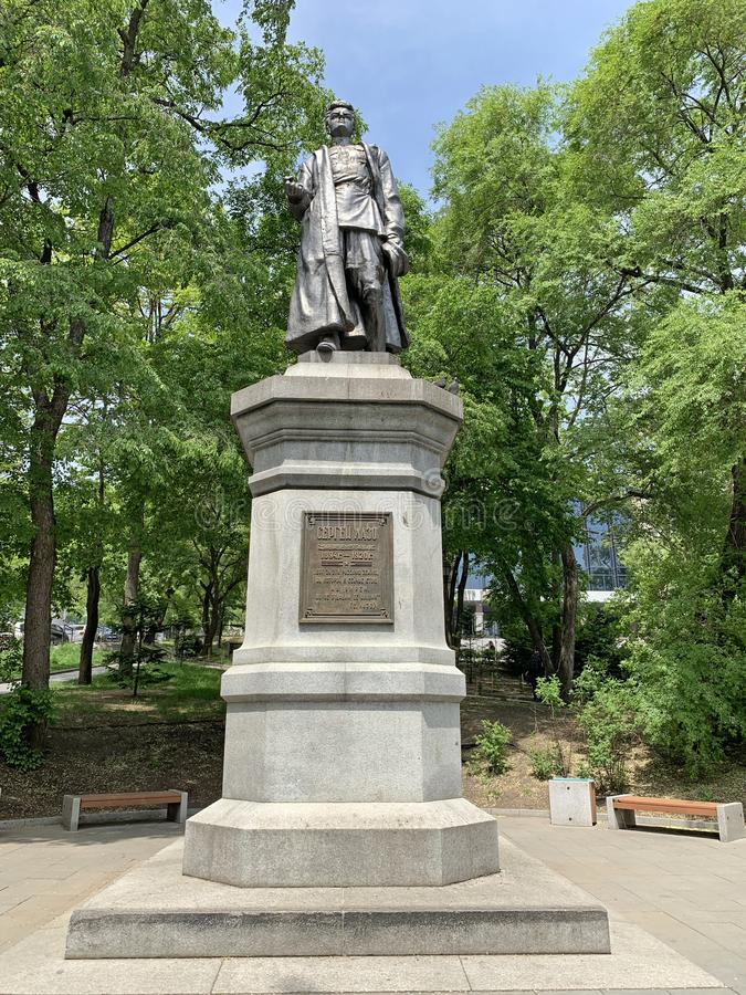 Vladivostok, Russie, mai, 25, 2019 Monument à Sergei Sergey Lazo en parc de Vladivostok au printemps images stock