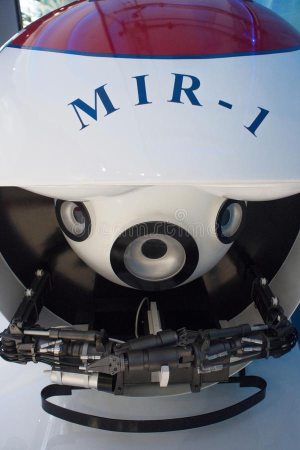 VLADIVOSTOK RYSSLAND - AUGUSTI 18, 2018: Bathyscaphe, robot för undervattens- arbete och forskning undervattens- lander arkivbild
