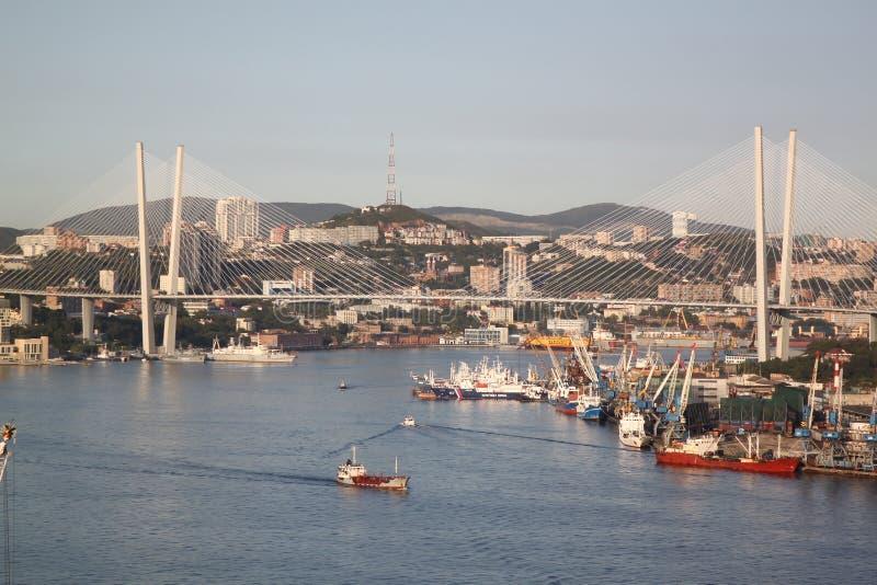 Vladivostok Ryssland sikt över den guld- bron royaltyfri foto