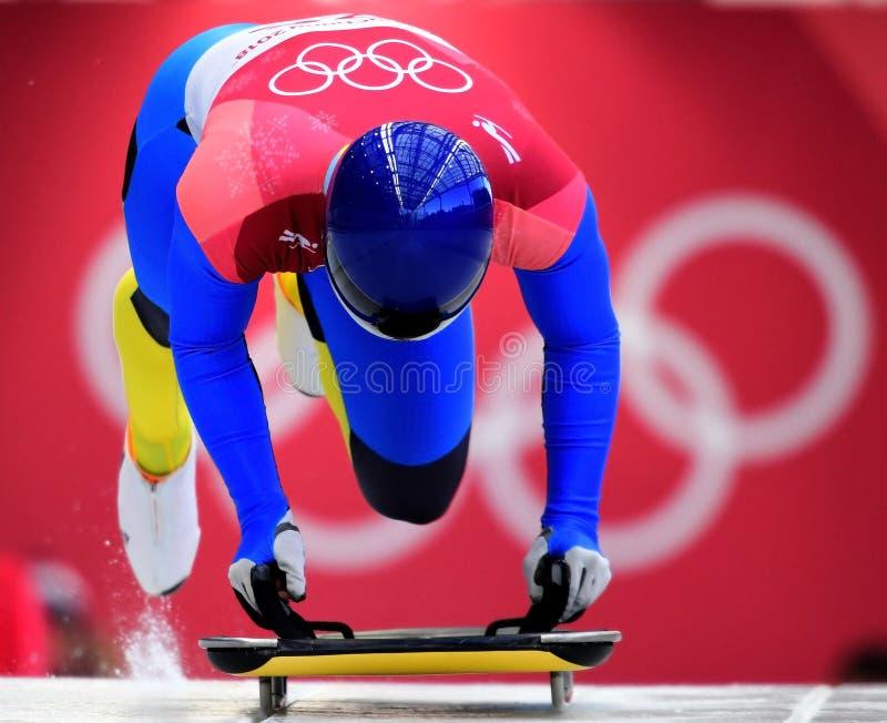Vladyslav Heraskevych de Ucrania compite en el calor oficial del entrenamiento de los hombres esqueléticos en las 2018 olimpiadas fotos de archivo