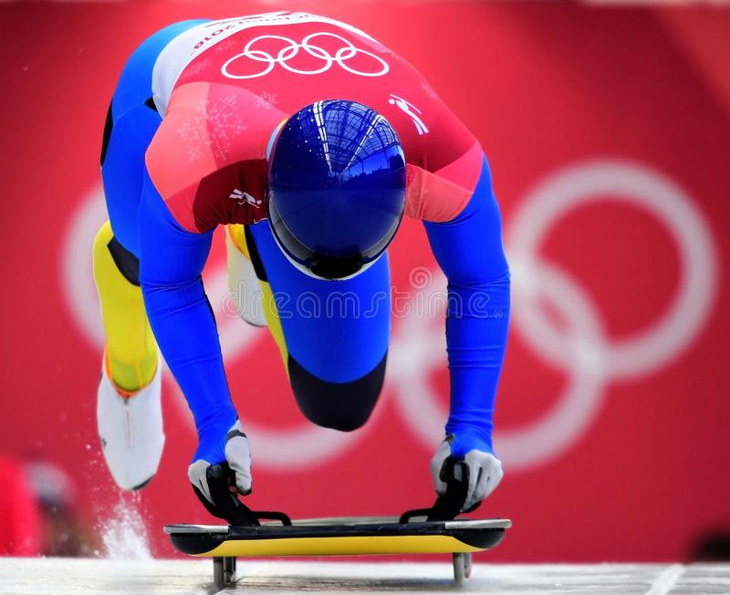 Vladyslav Heraskevych von Ukraine konkurriert in der Skeleton Mann-offiziellen Trainings-Hitze an den 2018 Winter Olympics stockfotos