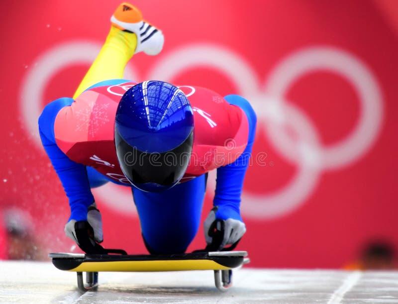 Vladyslav Heraskevych von Ukraine konkurriert in der Skeleton Mann-offiziellen Trainings-Hitze an den 2018 Winter Olympics lizenzfreie stockbilder