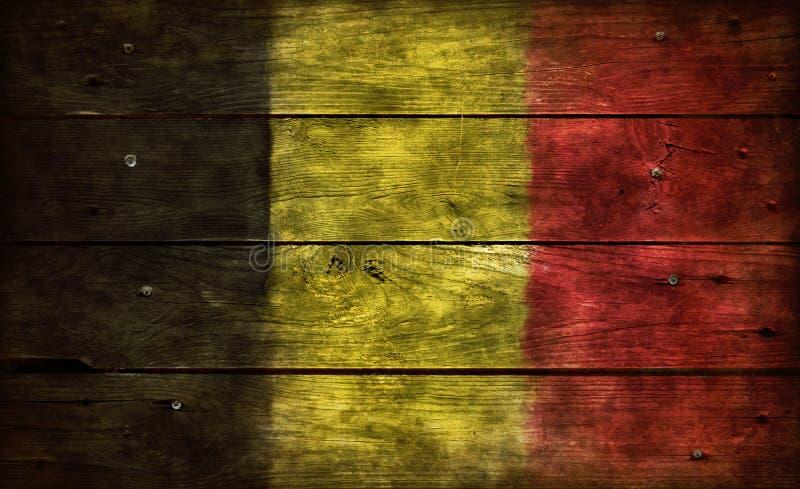Vlag België op hout stock afbeelding