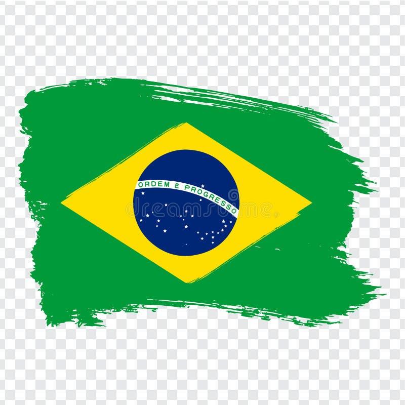 Vlag Brazilië, de achtergrond van de borstelslag Vlag van Brazilië op transparante achtergrond Voorraadvector Vlag voor uw websit vector illustratie