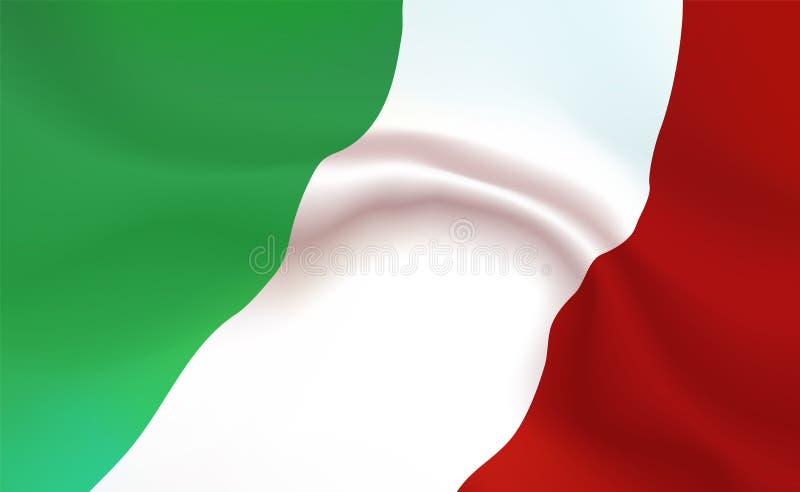 Vlag de achtergrond van Italië in vouwen Tricolour banner Wimpel met strepenconcept de omhoog dichte, standaarditaliaanse republi stock illustratie